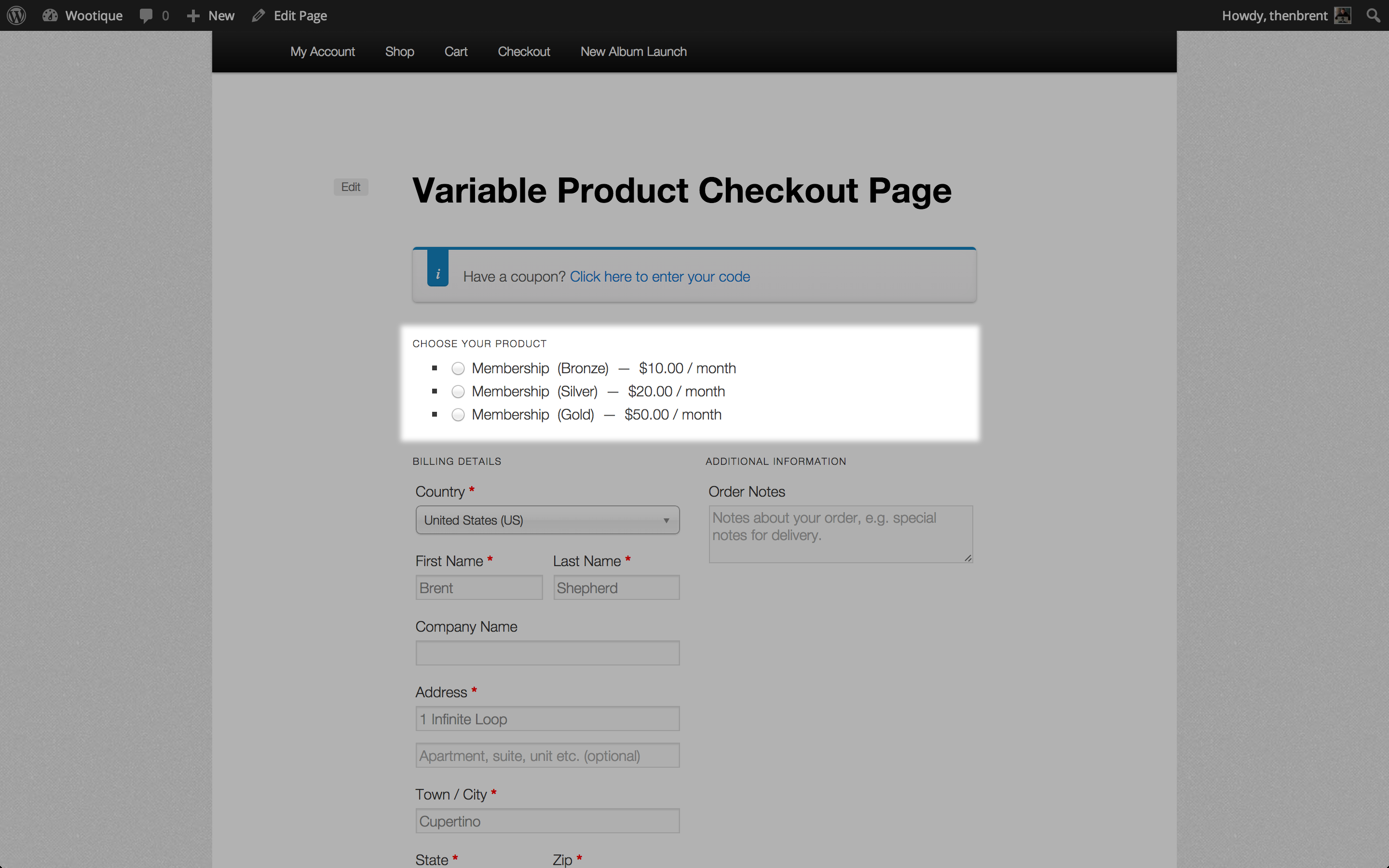 Variable checkout page