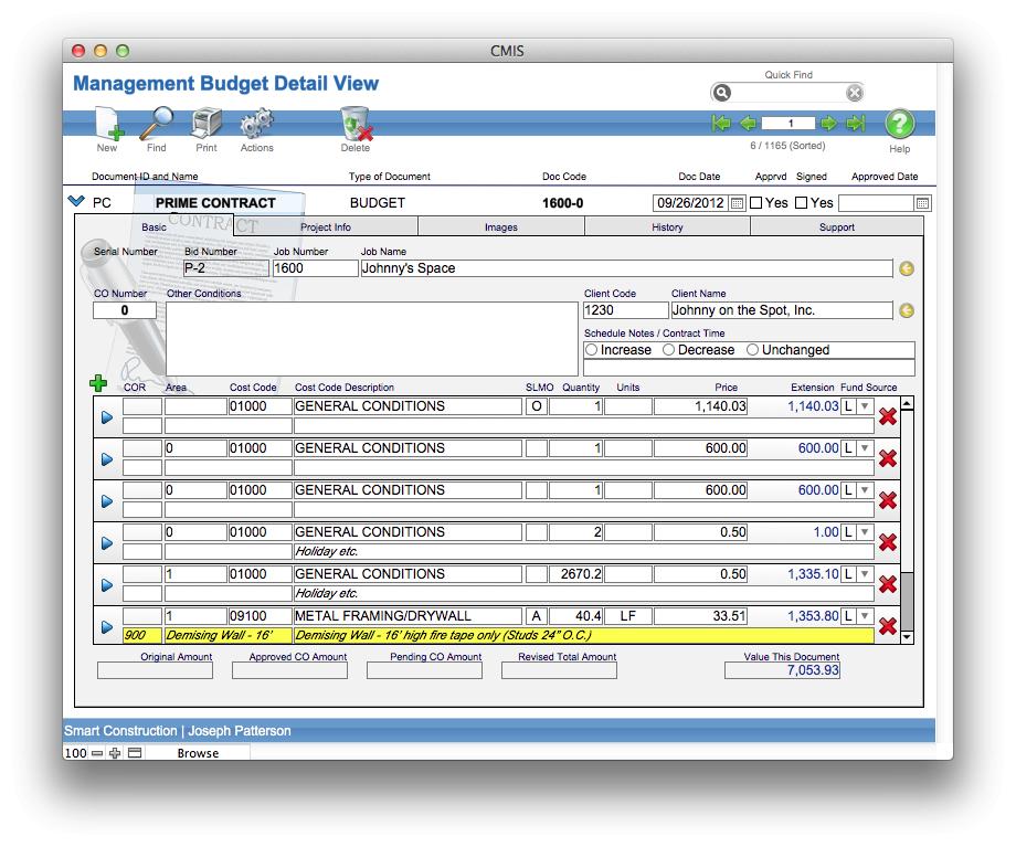 Management budget detail view
