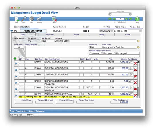 CMIS - Management budget detail view