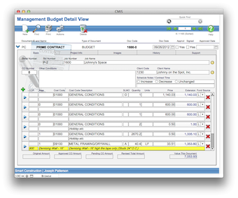 Management budget detail view