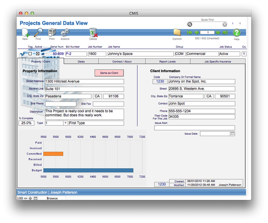 Projects general data view