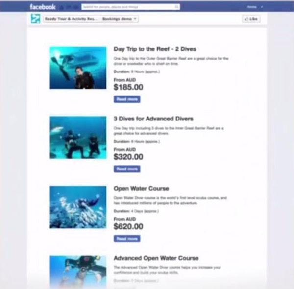 Book activities on Facebook