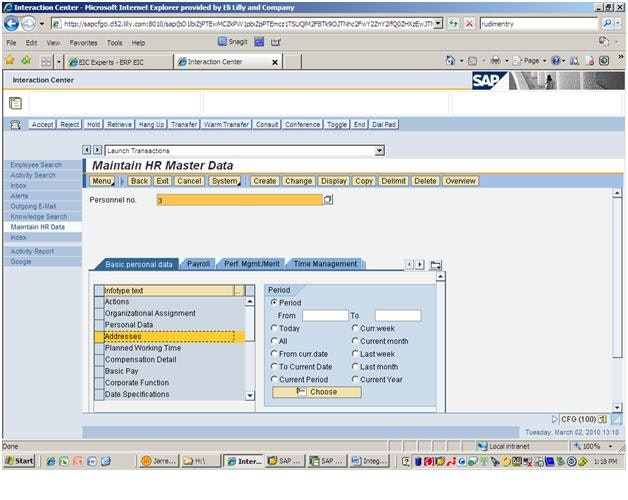 Employee interaction center integration