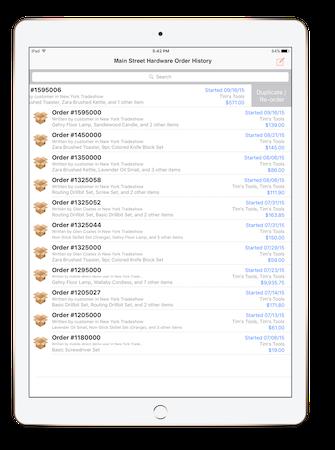 Mobile order list