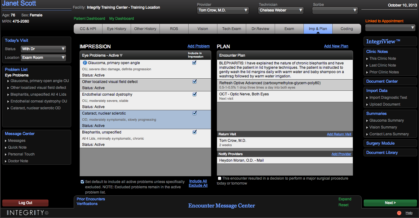 Patient dashboard - IMP & plan