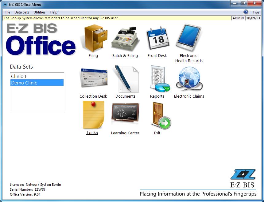 EZBIS office menu
