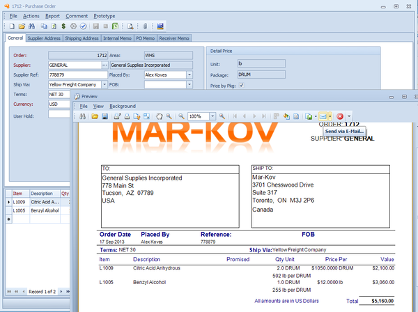 Mar-Kov CMS - Purchase order