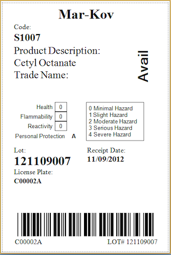 Raw material label