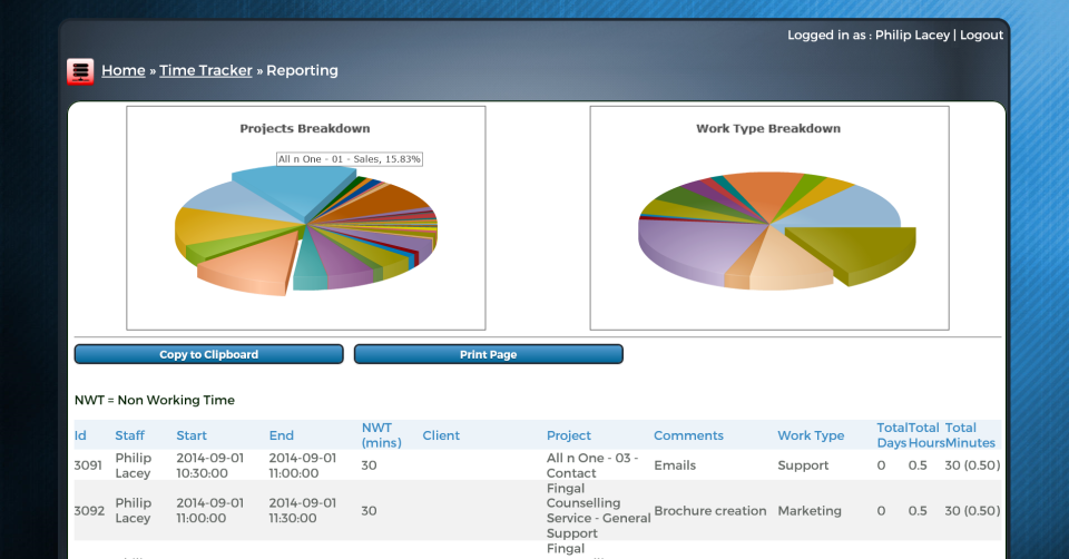 bxp software - Time tracking