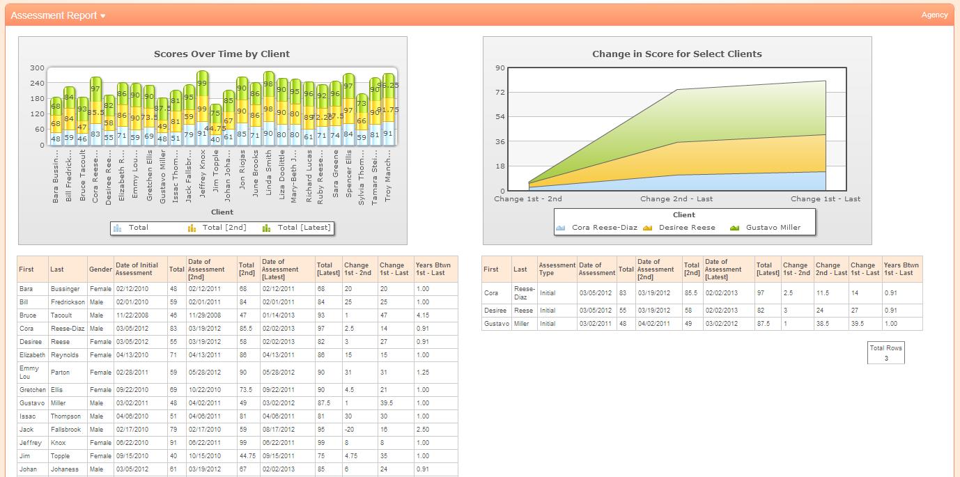 Assessement score changes and client comparison