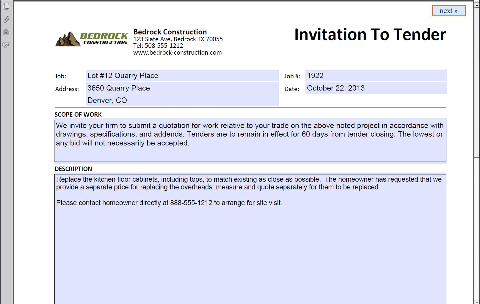 Invite document