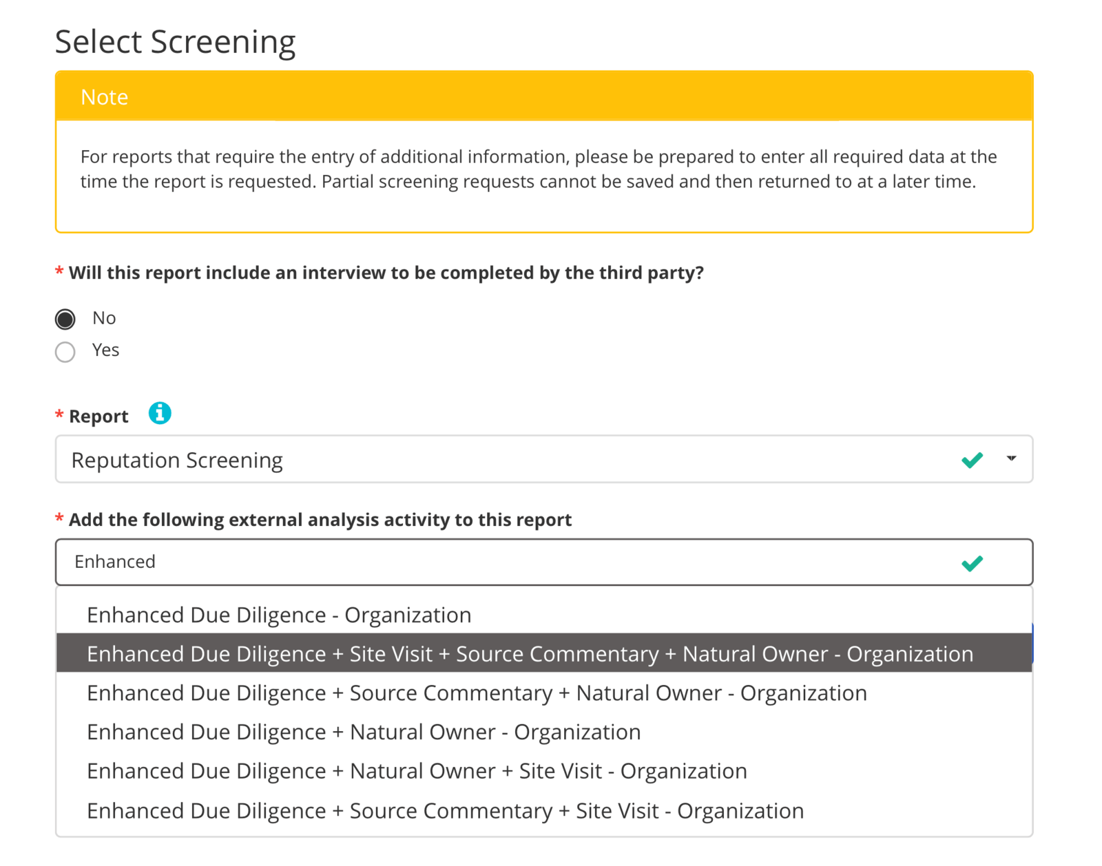 Select screening procedure