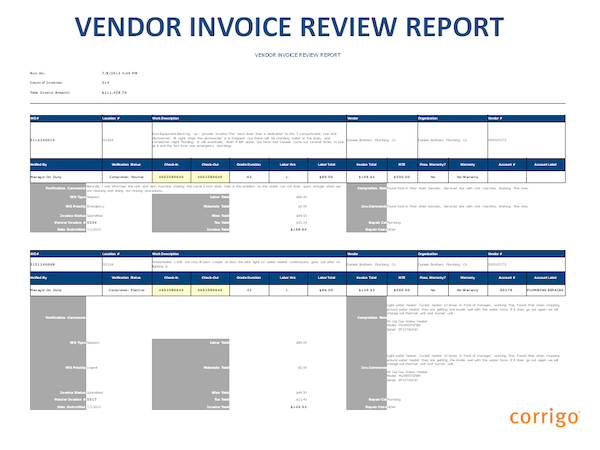 Vendor invoice review