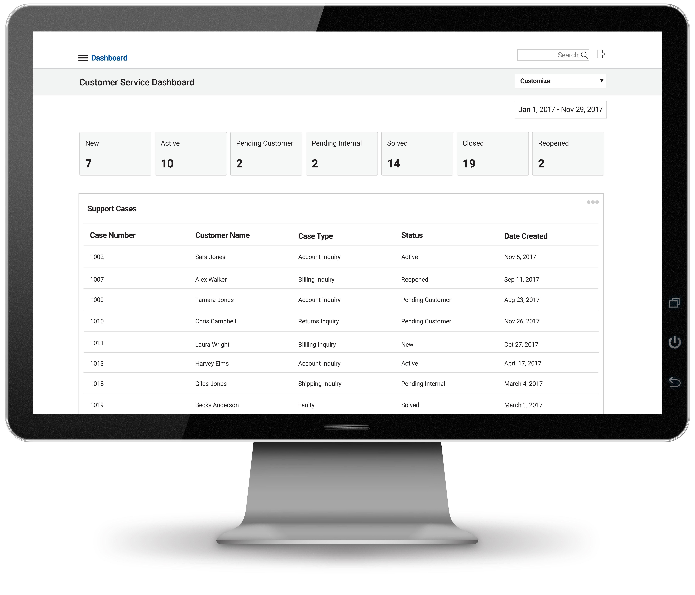 Customer service dashboard