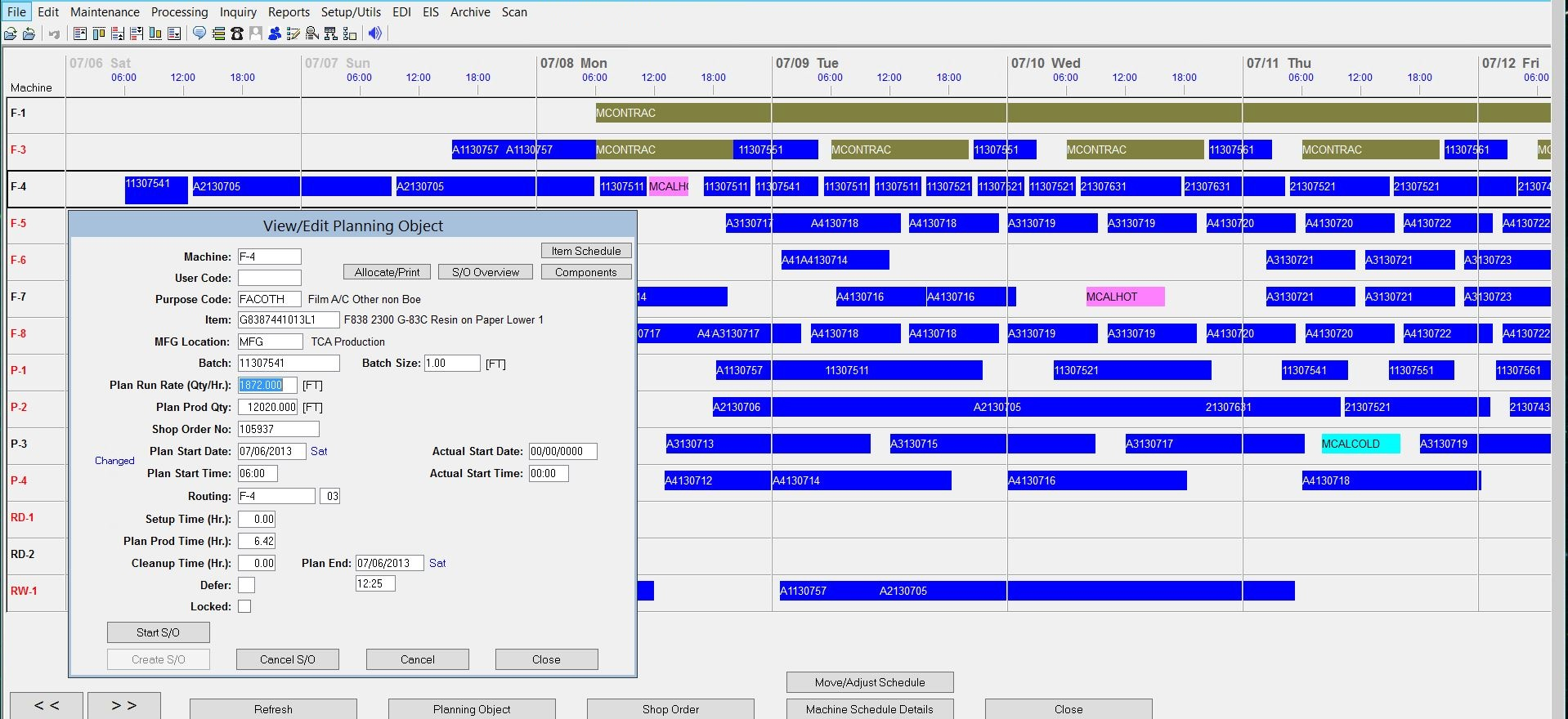Synchronous ERP - Manufacturing schedule