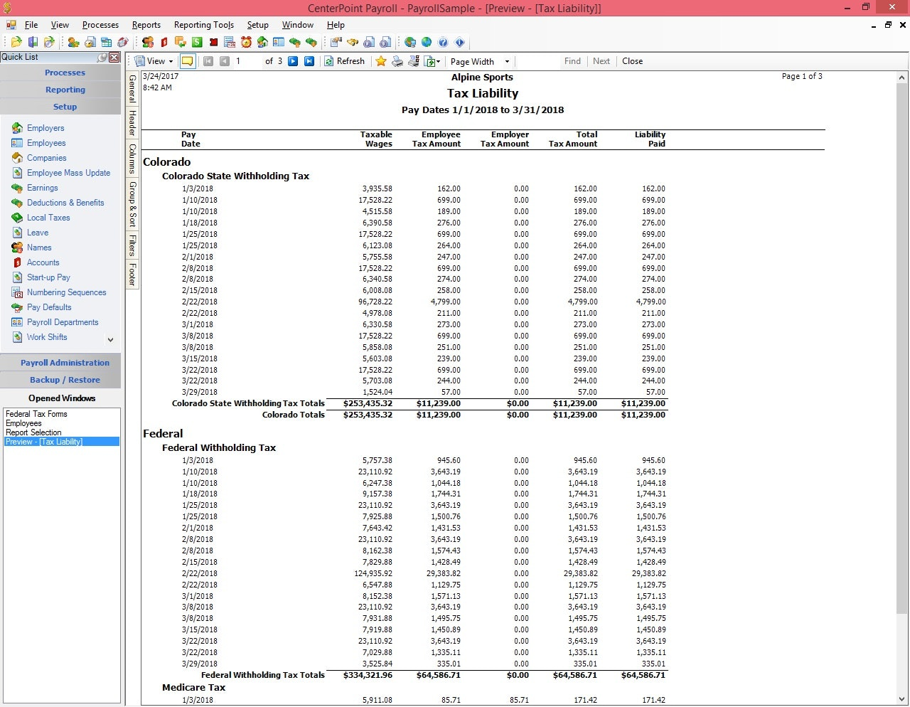 Tax liability report