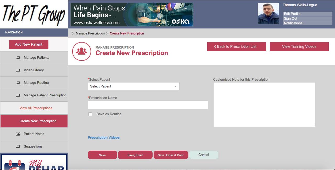 Create new prescription