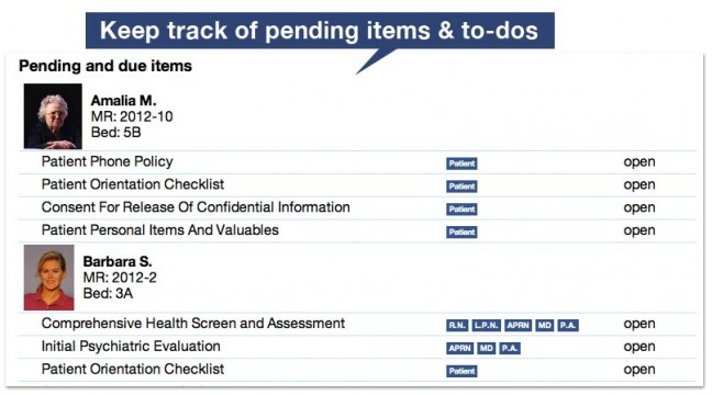 Keep track of pending items and to-dos