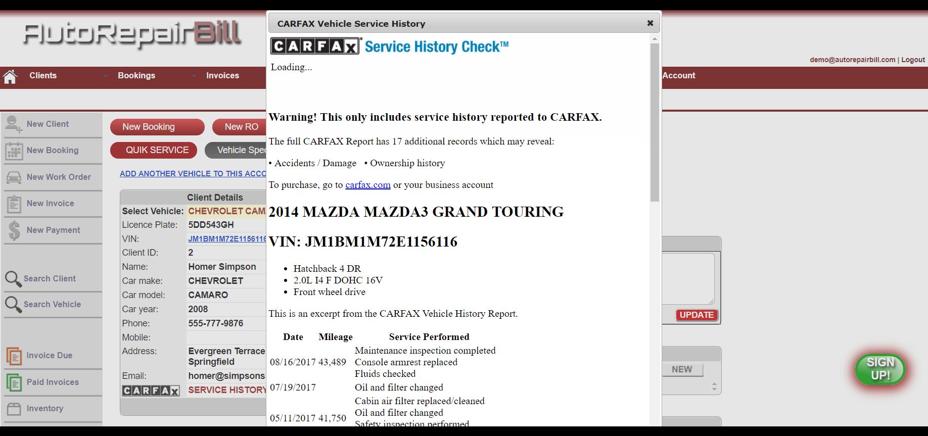 Carfax service history