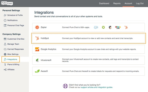 Pure Chat third party integrations screenshot