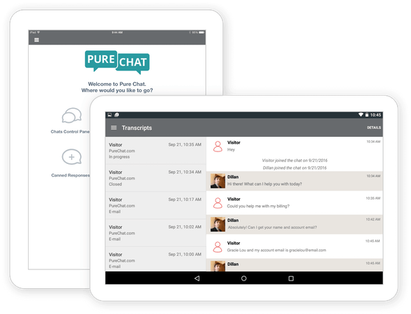 Pure Chat tablet and mobile ready screenshot