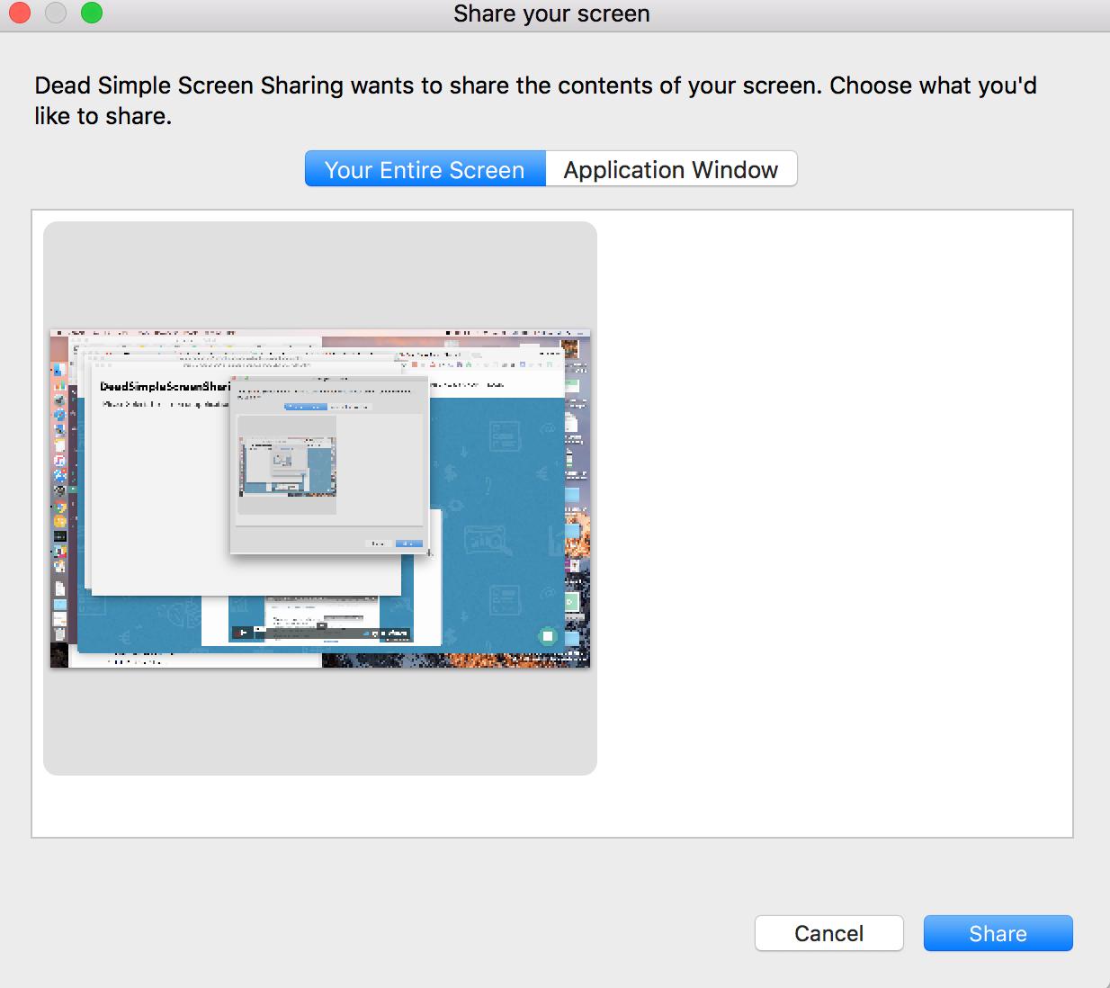 Configure screen sharing