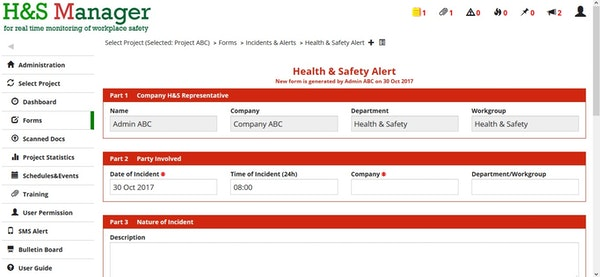 Health and safety alert form