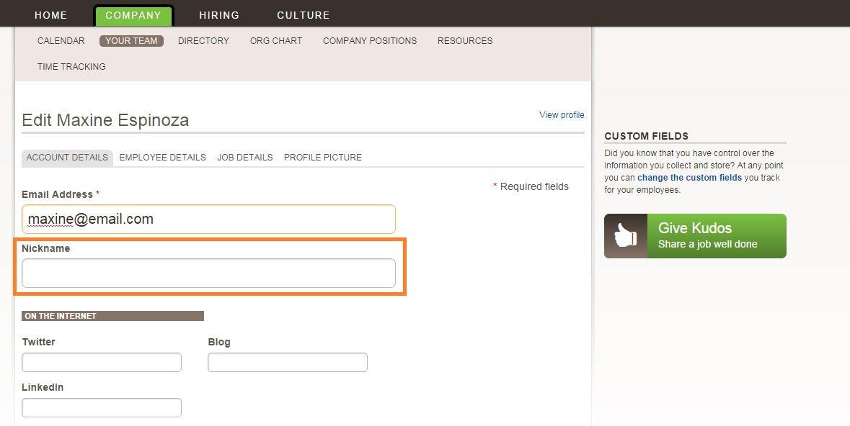 Add employee account details