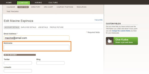 Add employee account details