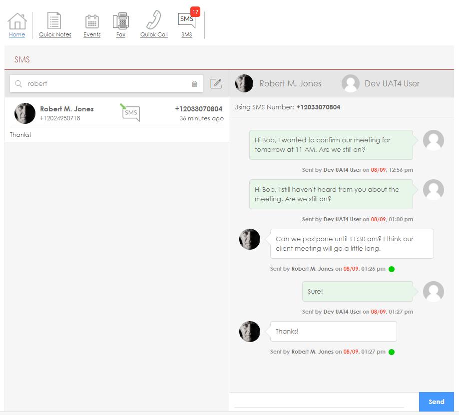 Customer chat history