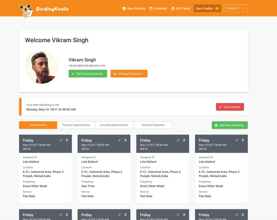BookingKoala - Service provider dashboard