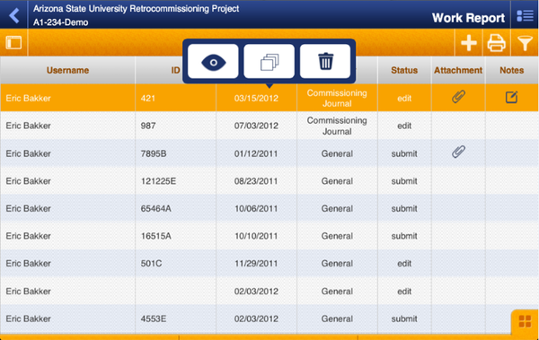 Work report mobile log