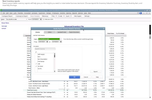 QuickBooks Enterprise modify reports