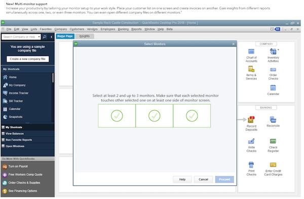QuickBooks Enterprise select monitors