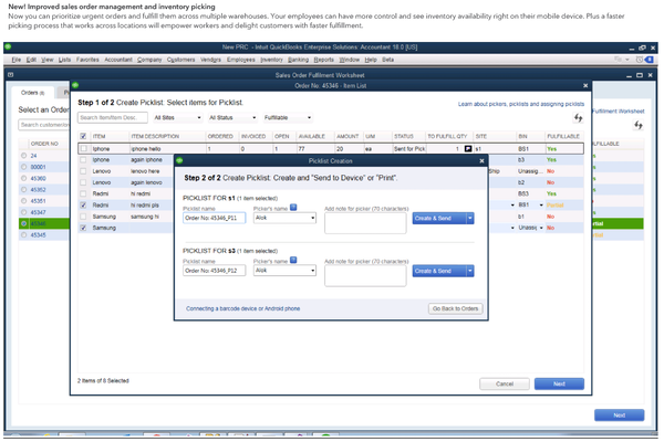 QuickBooks Enterprise create picklists