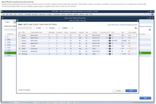 QuickBooks Enterprise select items from picklist