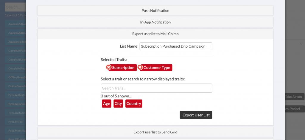 Export user list