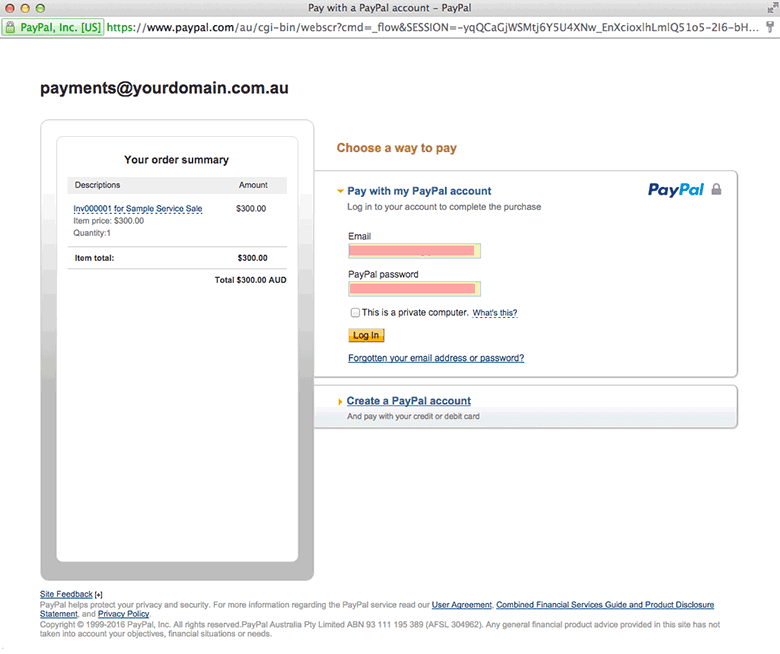 PayPal - Payment screen