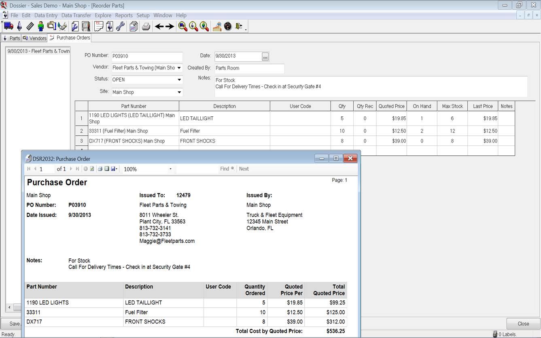 Dossier Fleet Maintenance - Purchase order