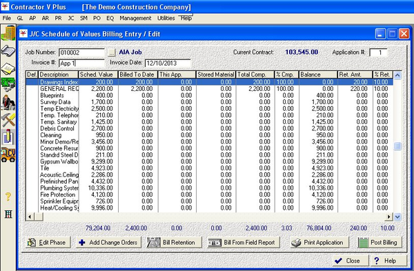 Schedule of values billing entry edit screen