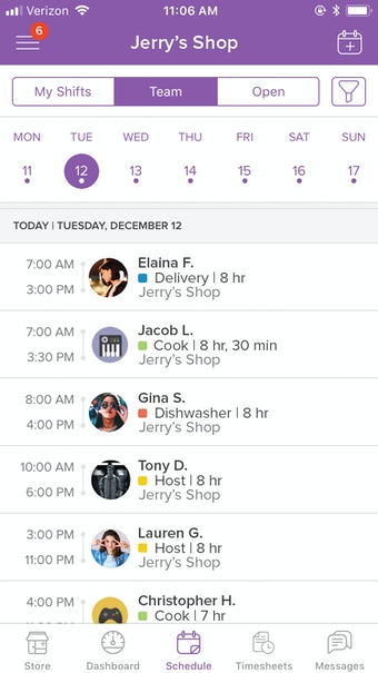 Mobile schedule view