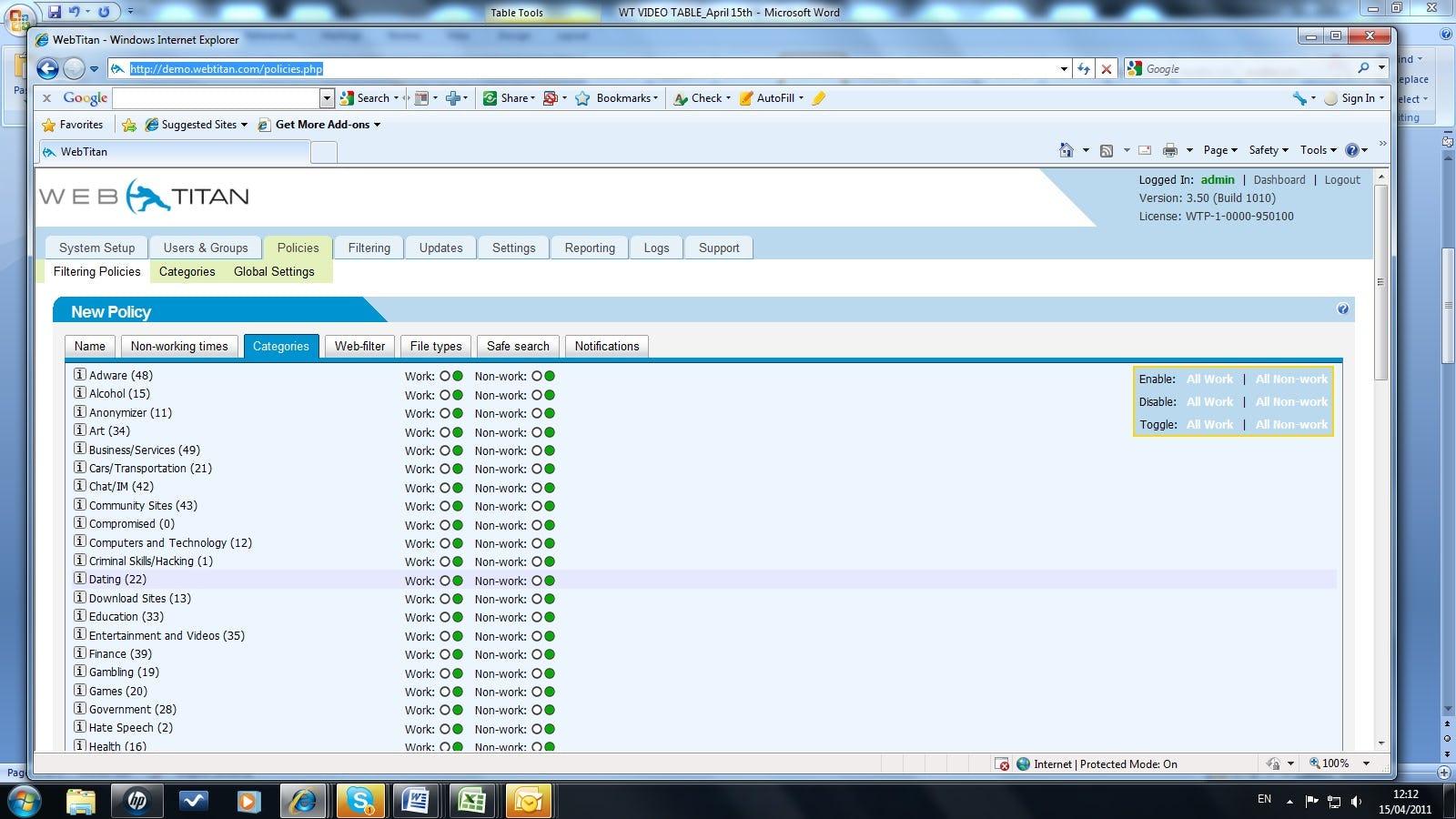 WebTitan - Category screen