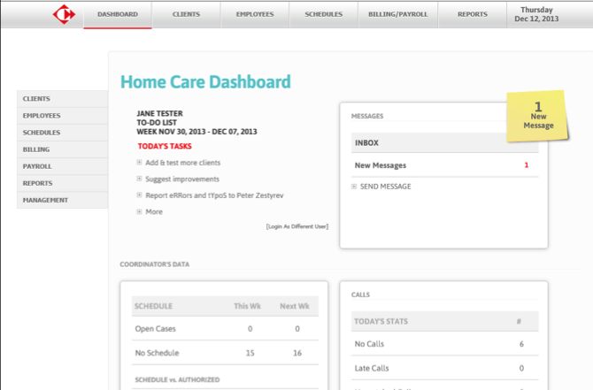 Caregiver coordinator's dashboard