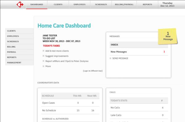 Caregiver coordinator's dashboard