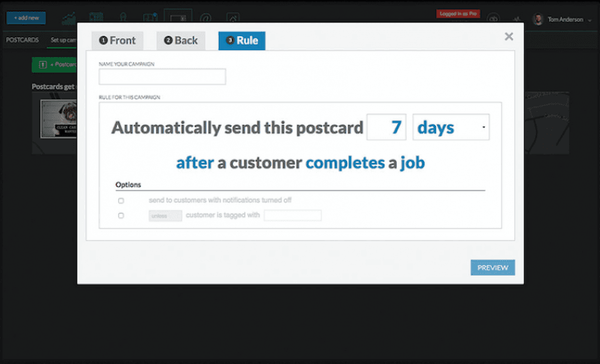 Postcard and email marketing