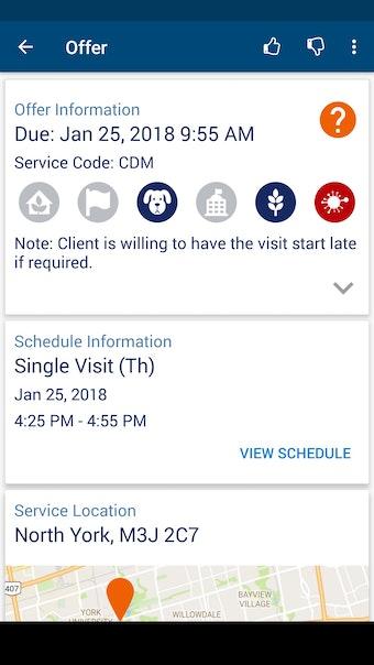 Mobile app shift offer