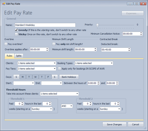 Edit pay rate