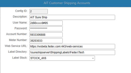 Customer shipping account