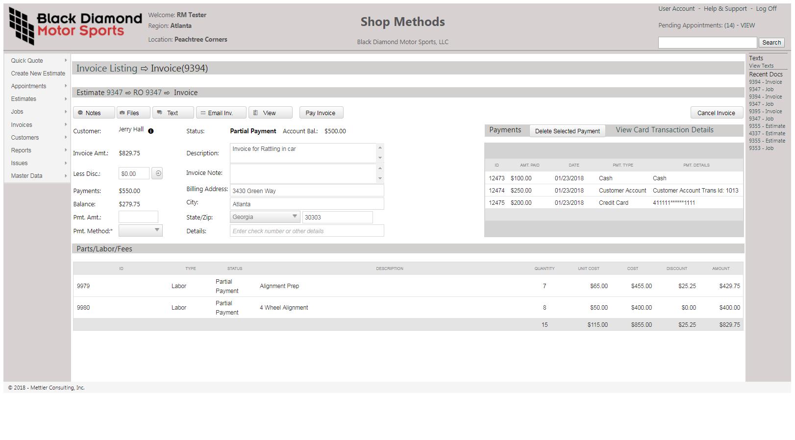 Invoice listings