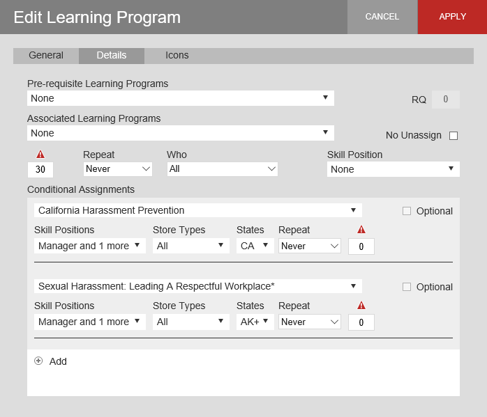 Edit learning program